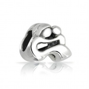 Heart Love Mother and Baby Charm 925 Sterling Silver Bead Fits Pandora Charms