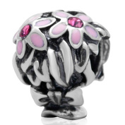Bling Crystal Flower Charm 925 Sterling Silver Bead Fit Pandora Charms
