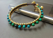 Chrysocolla Woven Brass Bead Bracelet
