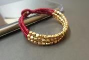 Red Cube Brass Bracelet