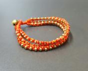 Orange Knot Brass Bracelet