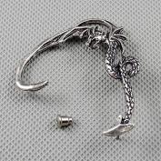 2 Pieces Earrings Ear Earring Supplies Hooks Stud Cuff Clip Punk XF185A Left Side Dragon