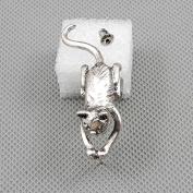 2 Pieces Earrings Ear Earring Supplies Hooks Stud Cuff Clip Punk XF161A Left Side Cat
