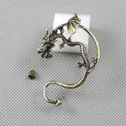 2 Pieces Earrings Ear Earring Supplies Hooks Stud Cuff Clip Punk XF018B Left Side Dragon