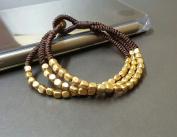 Chocolate Cube Brass Bracelet