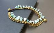 Amazonite Brass Chain Anklet