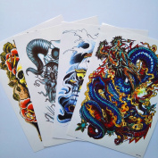 Kotbs 4 Sheets Mix Large Temporary Tattoos Paper Big Size Colourful Skull Designs Body Art Fake Tattoo Sticker Make up for Men Women Waterproof