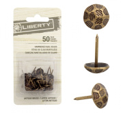 Liberty Upholstery Nails/tacks 1.1cm - 50 Pcs - Hammered (Antique Brass).