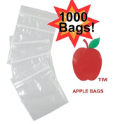 Apple Bags Baggies 2030 7.6cm X 5.1cm 100 Per Pack Bundle of 10 with Free BakeBros Silicone Container and Sticker