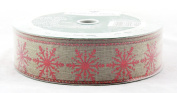 Red Sparkle Snowflake on Natural Burlap Wired Ribbon 3.8cm wide 50 yard
