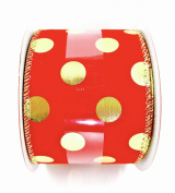 Jo-ann's Holiday Polka Dot Ribbon,glitter,wire Edge (6.4cm X 7.6m)