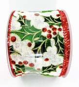Jo-ann's Holiday Mistletoe Ribbon,glitter,wire Edge