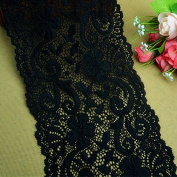 Black 3 Yards Retro Embroidered Mesh Stretch Lace Trim Fabric Ribbon Lace Garter Lace Craft Lace 15cm Wide