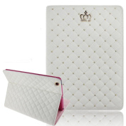 Superstart Luxury Crown Pattern Bling Diamond Leather Smart Protective Stand Case Cover for iPad Mini 1/2/3-White