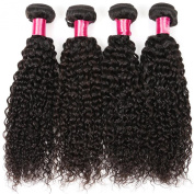 Golden Rule Hair 4 Bundles Peruvian Curly Virgin Hair Weave Unprocessed Human Hair Extensions Natural Colour Can Be Dyed and Bleached Tangle Free