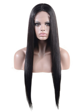 Stock 100% Real Indian Virgin Human Hair Straight Full Lace Wig-dl1