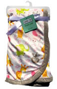 Lambs & Ivy Baby Blankets For Girls, Extra Soft Micro Plush Fleece Blanket, Little Monkeys, Baby Elephants and Giraffes with Reverse Pink Sherpa, 80cm x 70cm