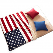 Echolife Plush Fleece Throw Blanket USA Flag Sherpa Blanket 130cm x 160cm for Sofa, Couch or Living Room