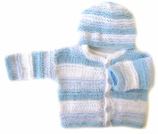 KSS Handmade Striped Lightblue Sweater/Jacket and Hat