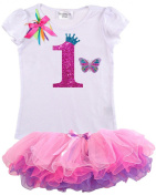 Bubblegum Divas Baby Girls 1st Birthday Rainbow Princess Butterfly Tutu Outfit