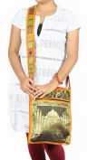 Indian Taj Mahal Art Work Silk Jhola Boho Bag Christmas Gift 25cm X 38cm