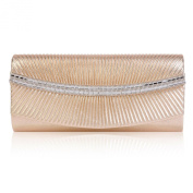 Damara Womens Pleated Sparkling Magnetic Flap Evening Bag