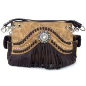 Justin West Western Tooled Rhinestone Concho Weaved Leather Fringe Chain Shoulder Handbag Purse with Concealed Carry and Phone Slot Tan