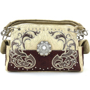 Justin West Western Tooled Rhinestone Concho Flower Embroidery Chain Shoulder Handbag Purse with Concealed Carry and Phone Slot Beige