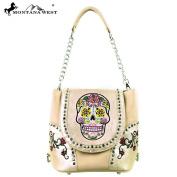 MW255-8105 Montana West Sugar Skull Collection Handbag Beige