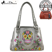 Mw255g-8036 Montana West Sugar Skull Collection Concealed Carry Handbag Pewter