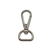 Tianbang Silvery 1.5cm Inside Diameter D Ring Lobster Clasp Claw Swivel Eye Lobster Snap Clasp Hook for Strap Pack of 6