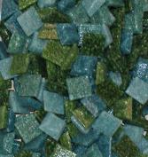 Hakatai Glass Mosaic Tile 1cm - ½ Pound Teal Blend Assortment