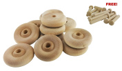 Wood Wheels - 100 Pack with Free Axle Pegs