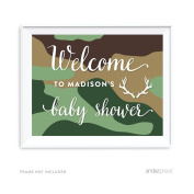 Andaz Press Woodland Camouflage Boy Baby Shower Collection, Personalised Party Sign, Welcome to Madison's Baby Shower, 22cm x 28cm , 1-Pack