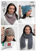King Cole Ladies Verona Chunky Knitting Pattern Womens Hat, Scarf, Headband and Neck Scarf