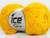 Lot of 8 Skeins ICE YARNS Cotton Bamboo Yellow