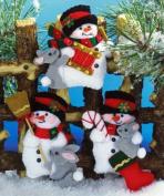 Design Works Felt Applique Kit - Snowman & Bunnies 4 Ornaments