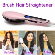 CHENGYIDA Professional Brush Hair Straightener Comb LCD Display Electric Straightening Irons Straight Hair Brush Straightener
