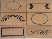 Borders 2 - Set of 6 Wood Mounted Rubber Stamps - #26529