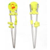 Baby Children Beginner Learning Stainless Flatware Anti-slip Right Handed Traning Helper Chopsticks