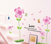 Pink Flowers Butterflies Wall Decal Home Sticker Paper Removable Living Room Bedroom Art Picture DIY Mural Girls Boys Kids Nursery Baby Playroom Decoration + Gift Colourful Butterflies