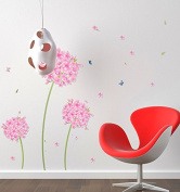 Pink Dandelion Wall Decal Home Sticker Paper Removable Living Room Bedroom Art Picture DIY Mural Girls Boys Kids Nursery Baby Playroom Decoration + Gift Colourful Butterflies
