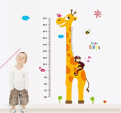Wall Decal Giraffe Monkey Height Measurement Home Sticker Paper Removable Living Room Bedroom Art Picture DIY Mural Girls Boys Kids Nursery Baby + Gift Colourful Butterflies