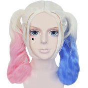 Xcoser Suicide Cosplay Squad Harley Quinn Films Pink Blue Gradient Ponytail Wig