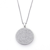 Sterling Silver Rhodium Plated, Round CZ Micro Pave Set Circle Pendant Necklace