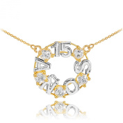 14k Two-Tone White and Yellow Gold Quinceanera 15 Anos CZ Pendant Necklace