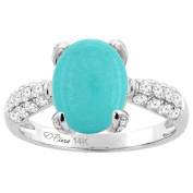 14K White Gold Natural Turquoise Engagement Ring Oval 11x9 mm & Diamond Accents, sizes 5 - 10