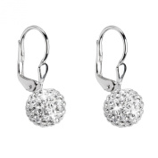 Rhodium-plated Silver Drop Earrings Made with. Elements