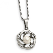 Stainless Steel Polished Freshwater Cultured Pearl Necklace - 46cm - JewelryWeb