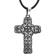 Sterling Silver Oxidised Hearts Cross Pendant Necklace, 46cm